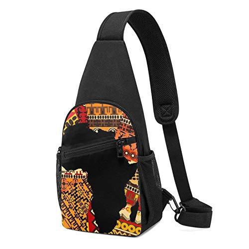 Mochila con estampado de mapa africano, diseño étnico, mochila de hombro ligera, bolsa de viaje, senderismo, bolsa de hombro cruzada, color Negro, talla Talla única