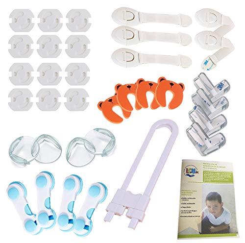 LCV Kit de Seguridad para Bebé en Casa - 35 Piezas | 12 Protectores de Enchufes para Bebés, 8 Protector de Esquinas, 10 bloqueadores para Armarios y Nevera, 4 Topes para Puertas + Guía Anti-Accidentes