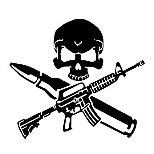 ZQZL 17,7 * 15,8 cm Divertido Rifle Bala Pistola cráneo Pegatinas de Coche Cubiertas con Pegatinas de Vinilo en el Cuerpo