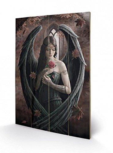 1art1 Gothic, Engel Mit Rose, Anne Stokes Poster Auf Holz (60x40 cm) + 1x Aktions-Home-Deko Artikel