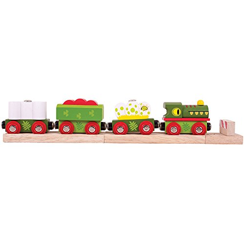 Bigjigs Rail Wooden Dinosaur Railway Engine and Carriages
