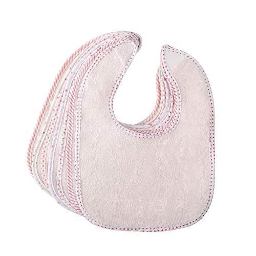 7er baby lätzchen Mädchen Rosa Spucktuch Lätzchen Baumwolle Bedruckte Webkante Weich und Bequem Doppeltuch Saugfähig Sabberlätzchen mit Klettverschluss von Future Founder