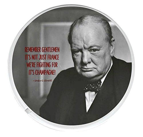 Einzigartige Champagner Rund Getränke Untersetzer Gedruckt Auf ein Bild von Winston Churchill mit einem berühmten Champagner Angebot.