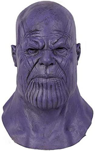 Thanos Mask Endgame - Casco de látex de cabeza completa, disfraz de Halloween de guerra infinita, disfraz de Halloween para adultos y hombres, Halloween, disfraz de Halloween (máscara Thanos)