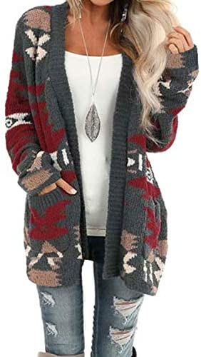 Dokotoo Womens Winter Warm Open Front Long Sleeve Aztec Print Cardigans Sweaters Casual Knitting product image