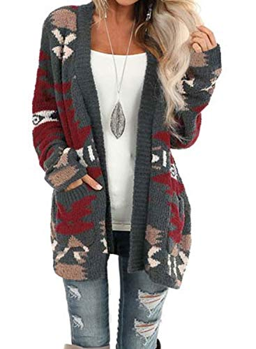 Sidefeel Women Printed Open Front Popcon Knit Cardigan with Pockets Medium Gray