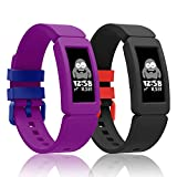 Intoval Silicone Bands for Fitbit ace 2, Bands for Fitbit ace 2 Bands for Kids Boys Girls Soft Sport Band for Fitbit Ace 2 Activity Tracker for Kids. (Grape+Black1)