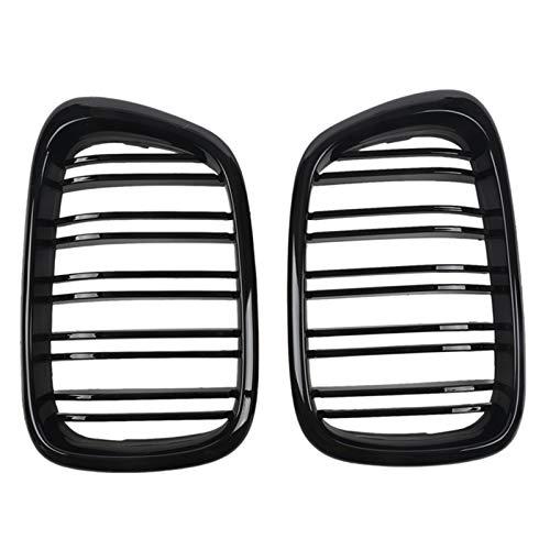 Brillante riñón Negro delantera de la capilla parachoques parrilla ABS de dos líneas compatible for el BMW Serie 5 del parachoques delantero Grille Parrilla Delantera (Color : Black)