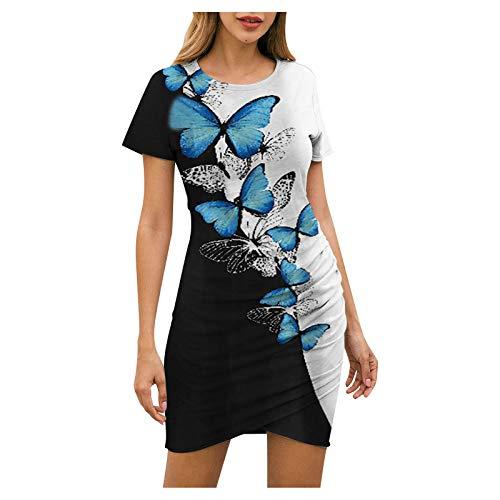 Vestido de mujer con diseño de mariposas, vestido de flores, camiseta ajustada, manga corta, vestido de verano, vestido corto hasta la rodilla, vestido de tiempo libre azul XXL