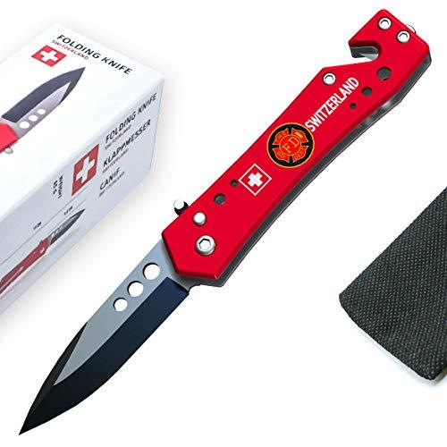 TopSpirit® 3-in-1 Klappmesser Switzerland - Survival Taschenmesser Outdoor-Messer Mit scharfer Klinge aus Edelstahl - Einhandmesser mit Stofftasche