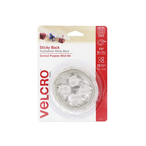 VELCRO Brand - Sticky Back Hook and Loop Fasteners | Perfect for Home or Office | 18in x 3/4in Tape, 3/4in Coins | White (95153W)