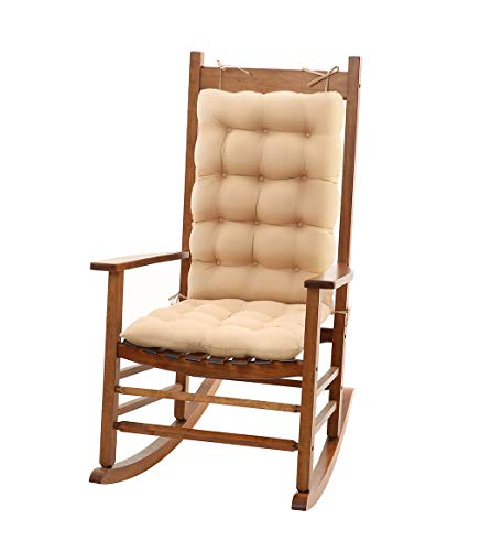 Rocking Chairs Cushions Non-Slip with soft Cotton filling Back Support Garden Chair Cushions for Home Life Chair Pads Comfort for office Size Seat Back22x 17x3 inches, Size Seat:19x17x3 inches Beige