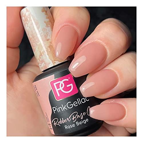 Pink Gellac Rubber Base Rose Beige Pink Gel de uñas 15 ml para lámpara UV LED   Shellac Gel Nail Polish for UV Nail Lamp   LED Nail Polish Gel Esmalte de uñas gel