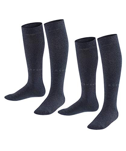 ESPRIT Unisex Kinder Foot Logo 2-Pack K KH Socken, Blau (Navy Blue Melange 6490), 39-42 (2er Pack)