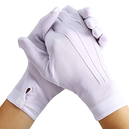 White Stitched Cotton Gloves for Formal Tuxedo Jewelry Inspection, 2 Pairs (Nylon 10 Inch)