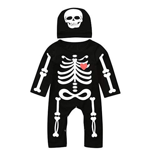 Riou Halloween Baby Kostüm Fasching Karneval Party Cospaly Costume Skelett Kostüm Baby Junge Langarm Schädel Druck Spielanzug Overall + Hut Babykleidung Outfits Set (90, Schwarz A)