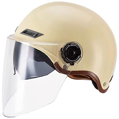 Mezzo Casco da Moto ECE Omologato CascoMotoJet retrò Portatile Casco Scodella con Doppia Visiera Parasole Caschi Aperto Demi, per Bici Cruiser Chopper Ciclismo E,L 57-59