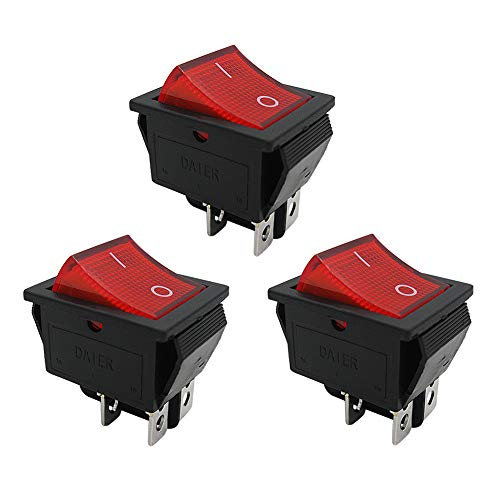 mxuteuk 3pcs AC110V Rocker Switch, DPST ON-Off 4 Pin Red Light Illuminated Snap-in Toggle Power Switch, AC 250V 15A 125V 20A, Use for Car Auto Boat Household Appliances 1 Year Warranty MXU2-201NR