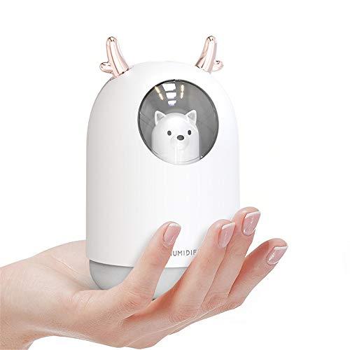 Jiujiuwanli Luftbefeuchter, 300 ML USB Mini Ultraschall Air Humidifier Leise Raumluftbefeuchter Duftöl Diffuser für Ätherische Öle Automatische Abschaltung Tragbarer Aroma Diffusor für Haus Yoga Büro