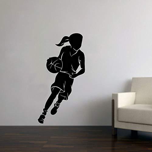 AGjDF Habitación de los niños Baloncesto niña Etiqueta de la Pared Deportes Mujeres cancha de Baloncesto vestidor calcomanía de Pared Vinilo extraíble decoración del hogar57x30cm