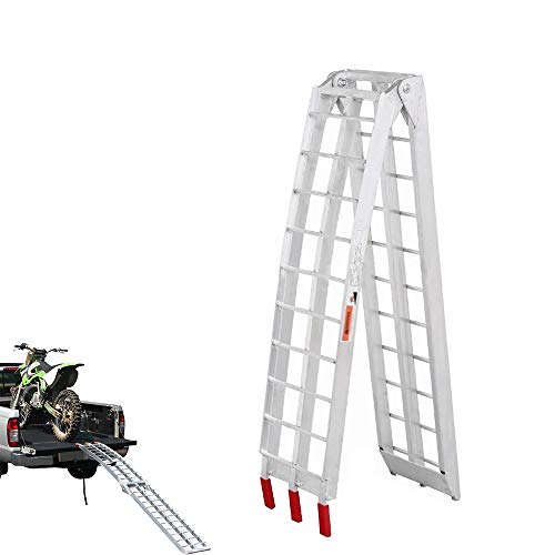 WXJ Aluminum Ramps Folding Loading Ramps 226x28x5cm | 340kg Capacity Heavy-Duty | Used for Loading Motorcycles, ATVs, Dirt Bike, Lawn Mowers, Snowblower, Pet Ramp