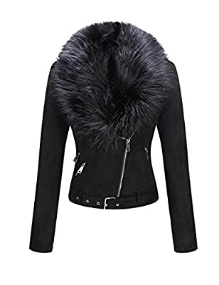 Bellivera Women's Faux Suede Short Jacket, Moto Jacket with Detachable Faux Fur Collar Black X-Large