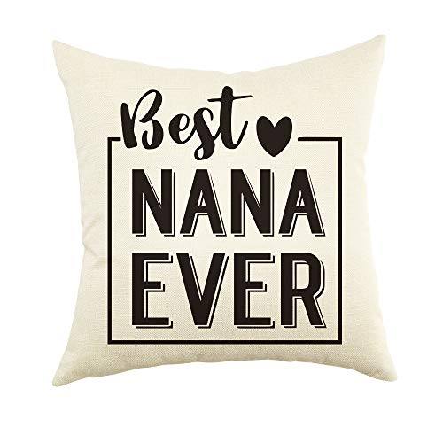 """Ogiselestyle Best Nana Ever Quote Throw Pillow Cover Home Decor Pillow Case Cotton Linen Cushion Cover for Grandma Birthday Gift 18""""x18"""""""