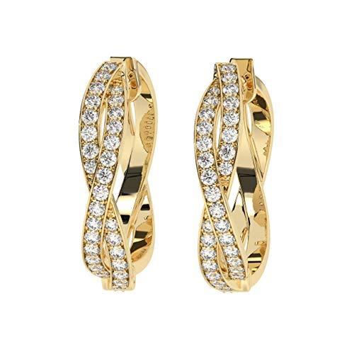 Aretes tipo argolla con diamantes de talla brillante redondos de 0,40 quilates, en oro amarillo de 18 k