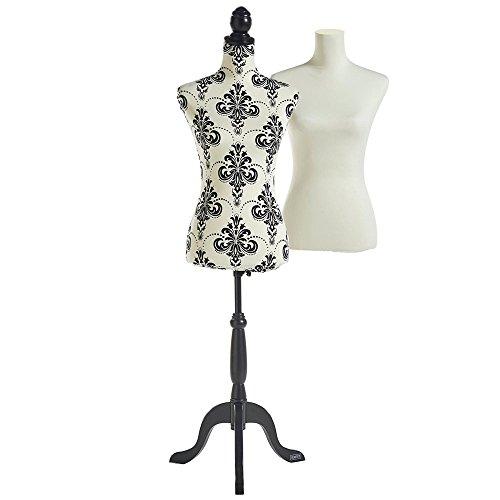 Beautify Mannequin Buste de Couture Femme Taille 36/38 avec 2 Revêtements Vêtements Présentoir De Fenêtre Blanc et Noir - Hauteur Réglable et Pied De Trépied