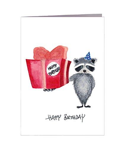 Geburtstagskarte Happy Birthday Waschbär Geschenk - Handmade in Hamburg - 100% Recyclingpapier – Glückwunschkarte mit Umschlag Geburtstag Geburtstagskarten Glückwunschkarte Grußkarte Geschenkkarte