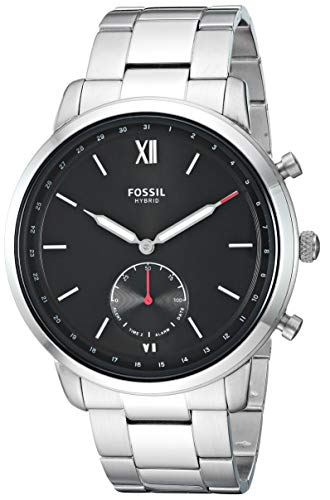 Fossil Men's 44MM Neutra Stainless Steel Hybrid Smart Watch, Color: Silver (Model: FTW1180)