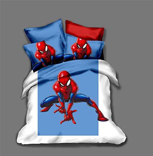 Duvet Cover Super King Size 260x240 cm Bedding set 3 Piece with 2 Pillowcases 50x90 cm Spider Man 3D Printing Design Soft Microfiber Quilt Cover Set with Zipper