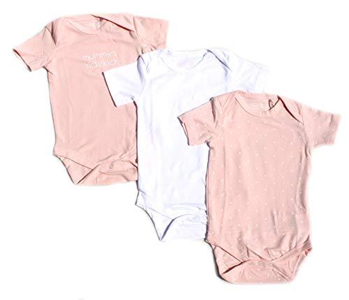 Ventilkappenkönig Baby Bio Baumwolle Body Pyjama Strampler Kleinkind Neugeborene 1er 2er 3er Sets für 0-24 Monate (3er Body Pink Weiß Kurz, 62-68)
