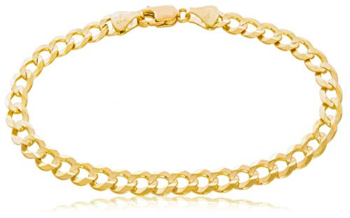 The Diamond Deal Mens Solid 14K Yellow Gold Shiny Cuban Comfort Curb Chain Bracelet with Lobster-Claw Clasp (7',8.5' or 10 inch)