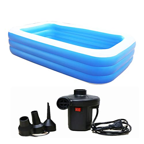 Inflatable Swimming Pool, Family Pool, Pools 305 x 180 x 65 cm, Large Rectangular Pool for Children, Adult Double Bath Thickened, Garden and Outdoor, Kids Paddling Pool, Summer Water Party