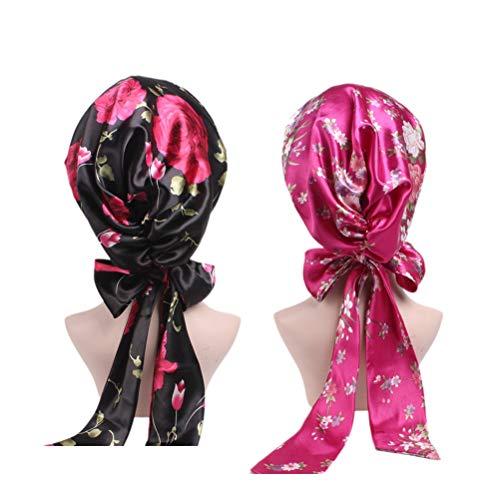 Lurrose 2 unids Cinta Bowknot Nightcap Satén Impresión Floral Gorro de dormir Salon Bonnet...