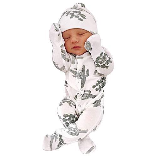 Divertido Pijama,K-Youth Mameluco Bebe Niña Recien Nacido Body Bebe Niña Manga Larga Cactus Ropa Bebe Niño Otoño Invierno Peleles para Bebés Niñas Bodies Bebe Niños Mono y Gorra (Blanco, 6-12 Meses)