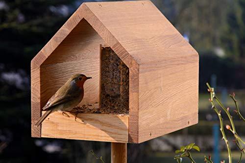 Luxus-Vogelhaus 46601e Eiche-Vogelfutterhaus mit Ständer, Satteldach, Futtertablett und Silo - 11