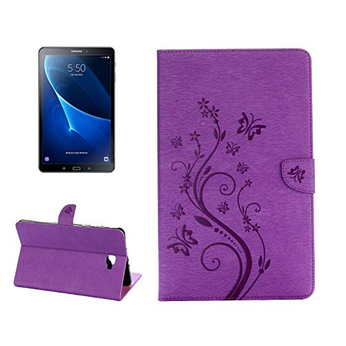 YDYX AYDD For Galaxy Tab A 10.1 Pressed Flowers Butterfly Pattern Horizontal Flip PU Leather Case with Magnetic Buckle & Holder & Card Slots & Wallet (Color : Purple)