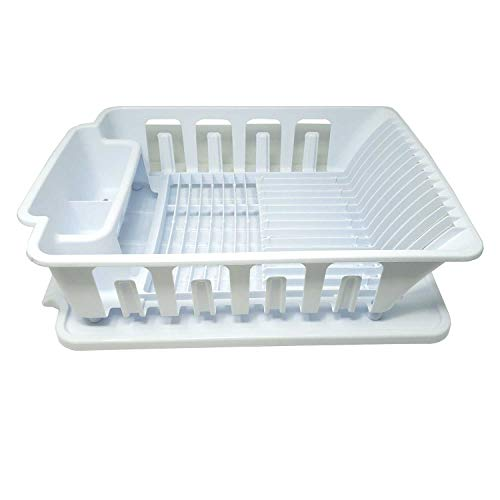 Heavy Duty Sturdy Hard Plastic Sink Set With Dish Rack With Drainer & Drainboard,Easy to Clean With Snap Lock Tab Cup Holders for Home Kitchen Sink Organizers-S,M,L-Made in USA(White Large Dish Rack)