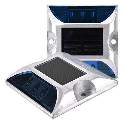 Eatbuy Luces de Tierra Luz de Tierra de energía Solar LED 6 LED Luces de señalización de Tierra de energía Solar Lámpara de Perno de Camino de Entrada al Aire Libre Impermeable