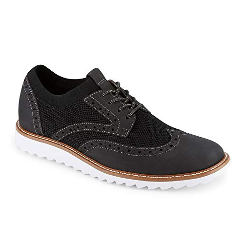 Dockers Mens Hawking Knit/Leather Smart Series Dress Casual Wingtip Oxford Shoe with NeverWet, Black/White, 10.5 M