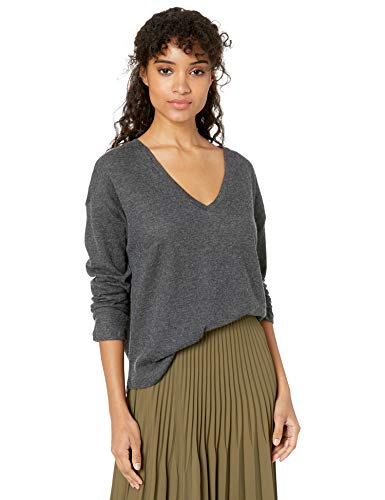 Majestic Filatures Women's Cotton/Cashmere Long Sleeve V-Neck, Anthracite gris Chine, 4