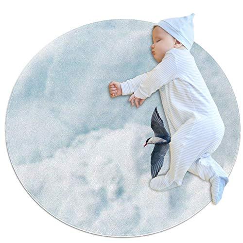 Rotondo antiscivolo tappeto bambini cerchio tappeto circolare tappeto lavabile in lavatrice, volante uccello