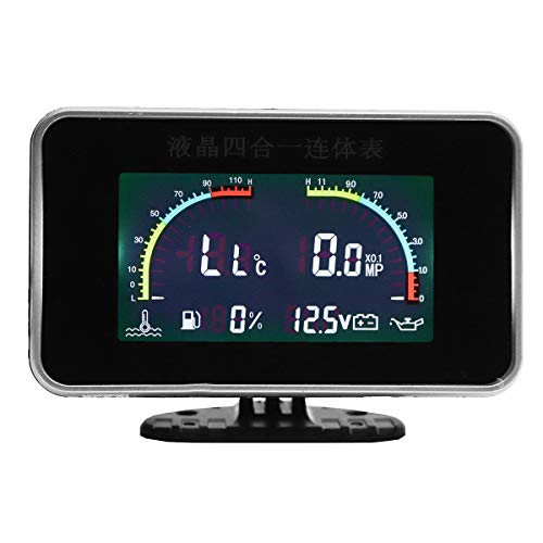 AVANI EXCHANGE 12V 24V 4 In1 LCD Car Digital Alarm Gauge Voltmeter Oil Pressure Fuel Water Temp