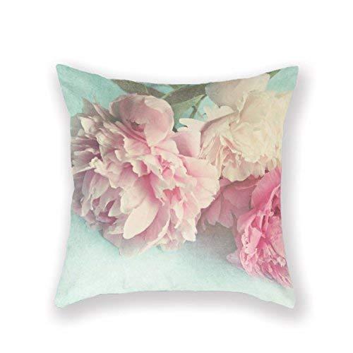 Mesllings - Funda de cojín decorativa para sofá, diseño de peonías rosas y aguamarina, poliéster, 45,7 x 45,7 cm