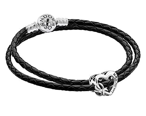 Pandora Set Leder-Armband für Damen mit Charm Love You Mum zauberhafter Armschmuck für Frauen, elegante Geschenkidee, 51520-41 41 cm
