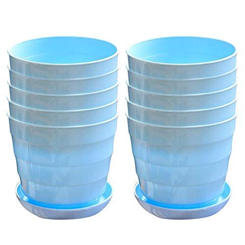 IWILCS 10 unidades de macetas de plástico multicolor para plantas, maceteros de plástico para oficina, balcón, barandilla, color azul