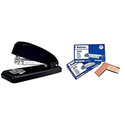 PETRUS 44792 - Grapadora para oficina gama Clásica modelo 226 color negro + 22/6 - Grapas