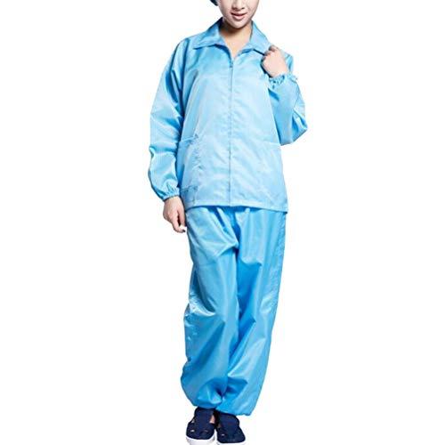 Exceart Beschermende Overall Spatwaterdicht Veiligheid Werkpak Isolatie Jurk Medische Scrubs Top en Broek Voor Ziekenhuis Buiten Lab Zonder Schoenen Hoed (Maat M Blauw)